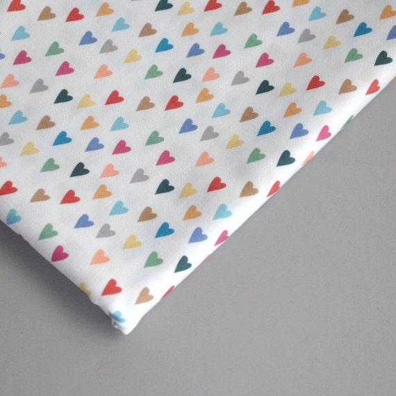 hearts - rainbow fabric - original fabric - fat quarter - heart fabric