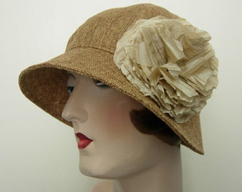 Ruby Cloche, Toast faux linen with flower. Free shipping in the US