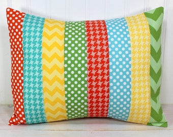 Pillow Cover, 12 x 16 Inches, Nursery Pillows, Unisex Pillow Cover, Yellow, Orange, Aqua Blue, Teal Blue and Green Chevron Gingham Dots