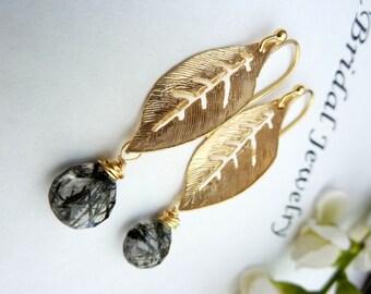 Black Rutilated Quartz with Golden Autumn Leaf Earrings