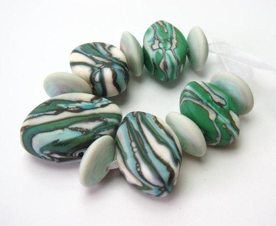 Handmade lampwork beads  -  Organic Layers  -  Zulu shaped glass beads, ivory, copper green, teal