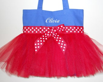 Dance bag, ballet tote bag - Embroidered Tutu Tote Bag - Royal blue tote bag with red polka dot ribbon and red tulle TB767 BP