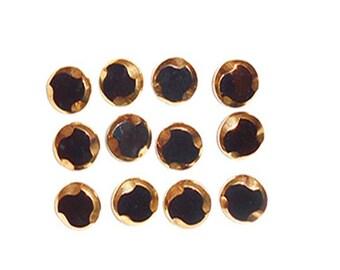 12 Antique Vintage Buttons  Black Glass with Gold Highlights Art Deco  Design Shank Back