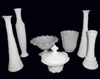 7 VINTAGE WHITE Milk  Glass  Vases  Pedestal Urn and Trinket Box  Instant Collection Wedding Center Pieces