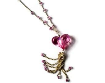 Necklace Pink Heart Silver chain dangle delicate feminine Valentine jewelry