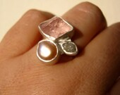 Trio ring with Rough Diamond, Rough Morganite and Natural Pearl - Engagement, Wedding, Anniversary