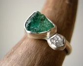 Reserved! Engagement Ring with Rough Emerald and Rough Diamond in Sterling Silver and fine silver
