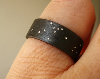 Uranus -  Starry Night, Unique Rustic Heavy Band in Sterling Silver - Choose WIDTH from 5mm or 6mm