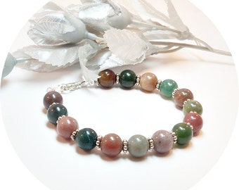 Bracelet, Jasper Stone, Multicolored, Brown, Rust, Green, Earth Tone Colors, Jasper, Casual