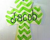 Personalized Chevron Ceramic Cross in Green That Comes in Your Color Choice