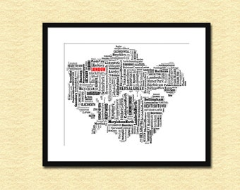 London Map Typography Map Typographical Poster Print