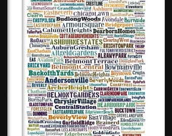 Chicago Map - Typography Neighborhoods of Chicago Poster Print