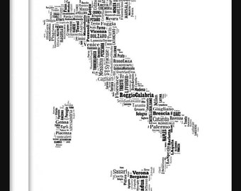 Italy Map Typography Map Poster Print Text Map