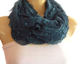 Dark Teal ruffle Infinity scarf Loop scarf Slightly sequined Necklace Scarf Le dernier cri...