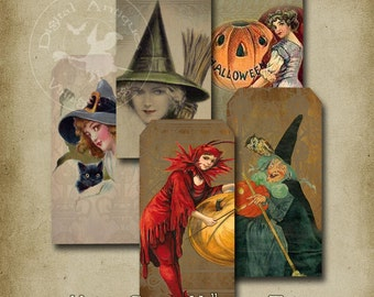 Vintage Grungy Halloween Tags Printable Digital Download