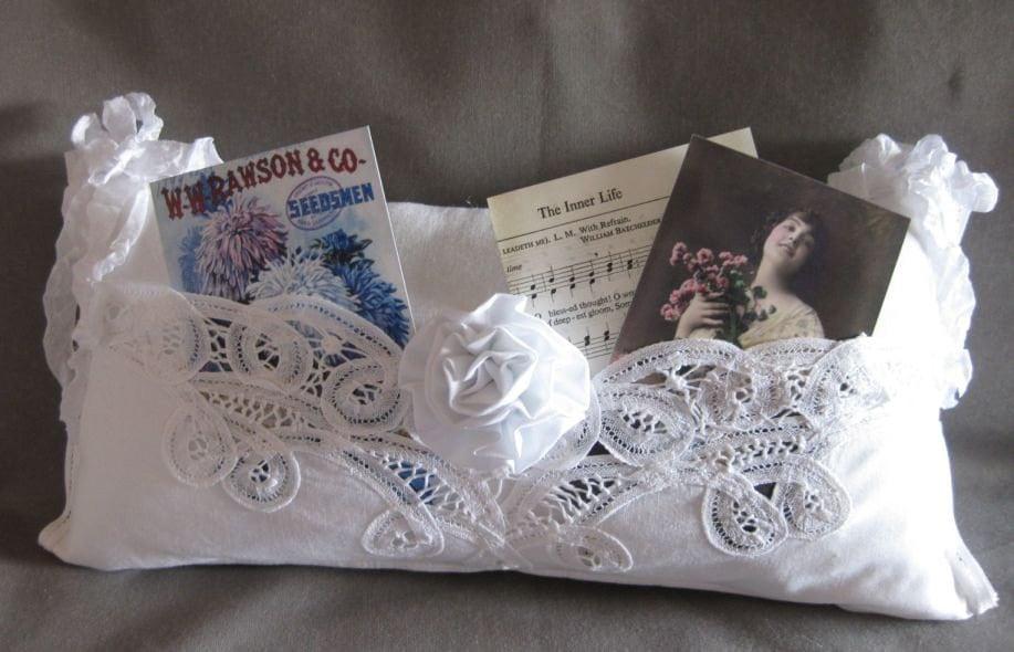Shabby Chic White Pillow Battenburg Lace Romantic Pocket