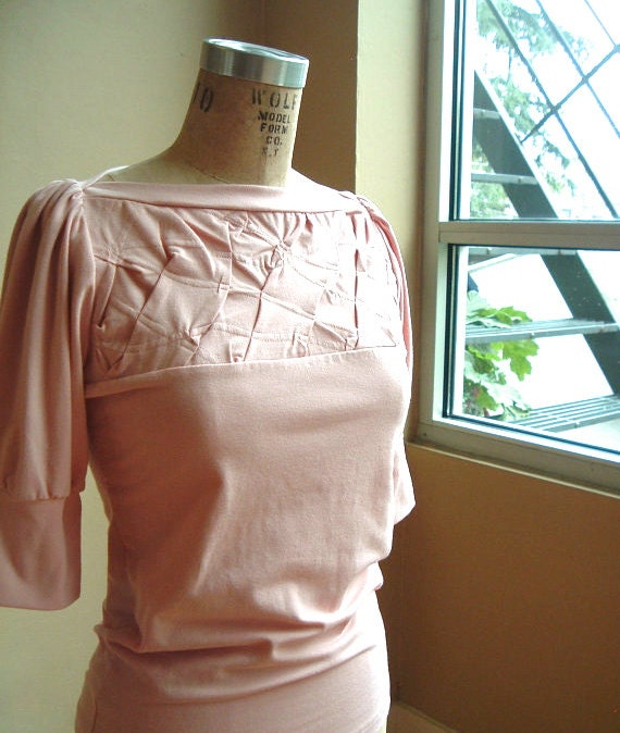 Pink Top Cotton Jersey, romantic style, puff sleeves - made to order
