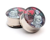Buddha Picture Plugs gauges - 1 1/8, 1 1/4, 1 3/8, 1 1/2 inch