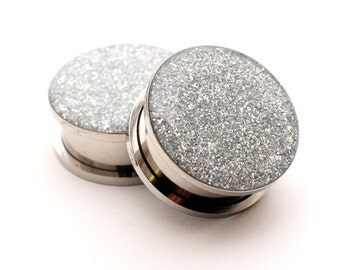 Screw On Plugs - Silver Glitter Plugs gauges - 16g, 14g, 12g, 10g, 8g, 6g, 4g, 2g, 0g, 00g, 7/16, 1/2, 9/16, 5/8, 3/4, 7/8, 1 inch