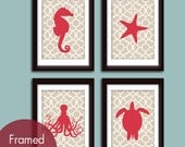 Marine Life Nautical Series A -Set of 4 - Art Prints (Featured Ruby Red and French Grey) Vintage Modern Prints