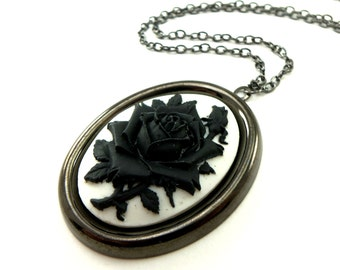 Large Cameo Pendant Necklace Black And White Rose Jewelry Gunmetal Dark Silver Gothic Pendant