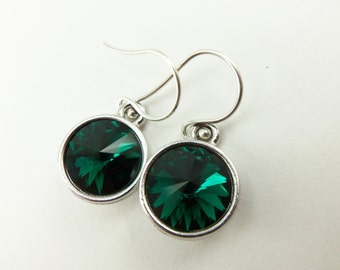 Emerald Birthstone Earrings Sterling Silver Drop Earrings Green Crystal Earrings May Birthstone