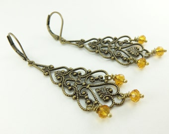 Amber Chandelier Earrings Long Amber Earrings Antiqued Brass Filigree Earrings Victorian Style Vintage