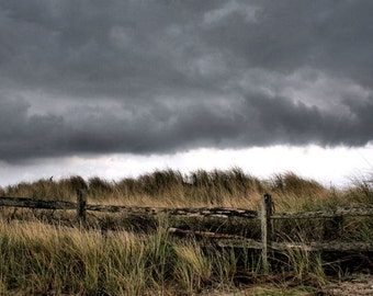 Storm Photography, Nature, Beach Decor, Fence,  11X14 Mat,  Wall Art,  Ready to Frame
