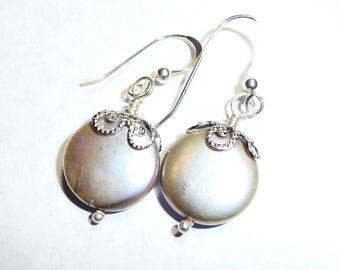 Sterling Silver and Gray Coin Pearl Earrings on Etsy