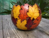 Painted Gourd Art Bowl Fall Home  Autumn Centerpiece Home Made to Order