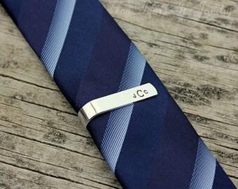 Skinny Tie Bar with Monogram or Initials - Personalized Skinny Tie Clip - Wedding Gift - Groom Gift - Groomsman Gift - Groomsmen Gift