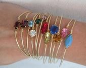 Set of 5 Bridesmaid Bracelets, Bridesmaid Rhinestone Jewelry, Birthstone Bangle, Affordable Bridesmaid Gifts, Set of 5 Bridesmaid Jewelry