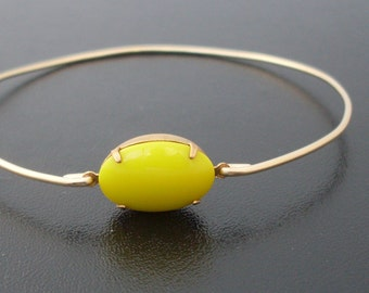 Yellow Bracelet, Yellow Jewelry, Sunshine Bracelet, Sunshine Jewelry, Yellow Bridesmaid Jewelry, Bright Yellow Bangle Bracelet