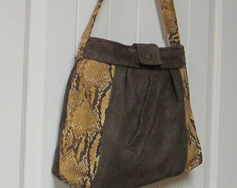 EVERYTHING ON SALE !! clearance priced - Handmade Brown Leather and Snake Skin Embossed Tapestry Handbag