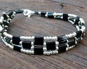 CLEARANCE - Black Tile Bracelet - Silver Glass Seed Beads, Black Glass Tiles, Geometric Pattern Bracelet