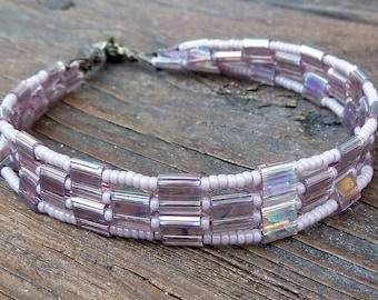 CLEARANCE - Lavender Tile Bracelet - Purple Glass Seed Beads, Lavender Glass Tiles, Geometric Pattern Bracelet
