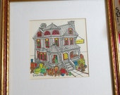 "Beautiful J. Paul Eaton Original Pen and Ink of Vicotrian ""Antique Shop""."