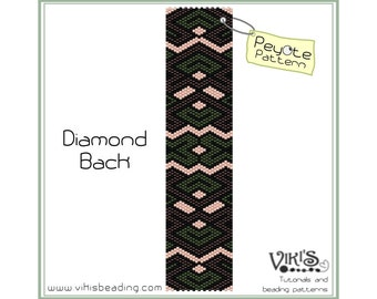 Peyote Bracelet Pattern: Diamond Back - INSTANT DOWNLOAD pdf - Special savings with coupon codes