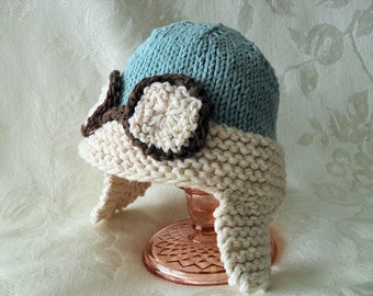 Baby Hat Knitting Rocketeer Knit Baby Hat  Aviator Baby Hat Cotton Pilot Knitted Hat Knitted Baby Beanie Knitted Baby Clothes Airplane Hat