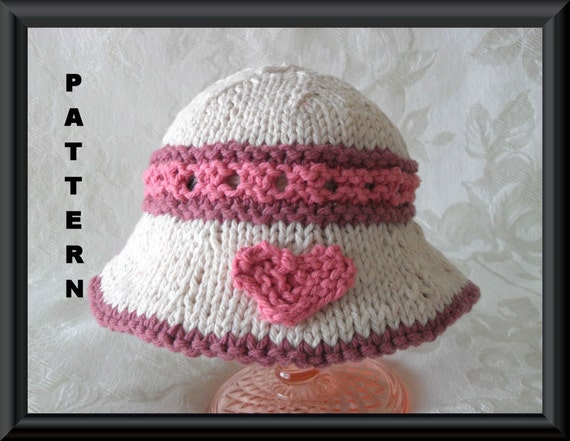 Knitting Pattern For Baby Hat With Brim : Knitting Pattern for Baby HatChildren by CottonPickings on ...