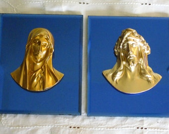 SALE Pair Art Deco Blue Glass Mirror Plaques, Gold Head Sorrowful Mother, Figure Bust Crucifed Christ,  Vintage Religious Wall Hanging
