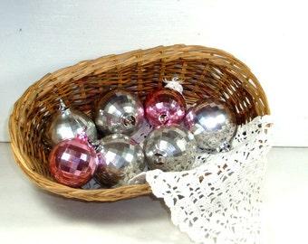Vintage Disco Style Christmas Ornaments, Silver, Pink, Round Plastic Balls, Retro