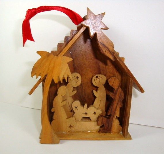 Vintage Religious Nativity Christmas Ornament: Vintage Wood Nativity Ornament Religious 8717