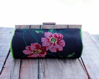Vintage Cross stitch Pouch Clutch Embroidery Black Floral