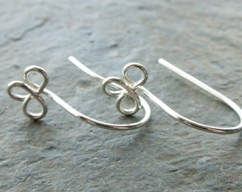 Handmade sterling silver trefoil earwires x 5 pairs MADE TO ORDER