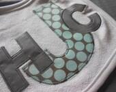 Three-Letter Monogram Bib - Steel Grey and Blue Dots