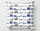 Construction Trucks Pillow Cover 16X16 Blue and Gray Coordinates with Construction Trucks Vinyl Decal