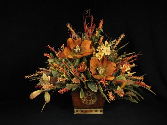 Old World Dining Table Centerpiece Floral Arrangement Rust