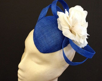 Royal Blue Flower Percher - Great hat for weddings and the races, can be made in other colours
