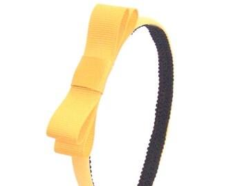 Marigold Yellow Bow Headband - Skinny Headband Solid Marigold with Bow - Girls Bow Headbands, Adult Bow Headbands, Simple Bow Headband